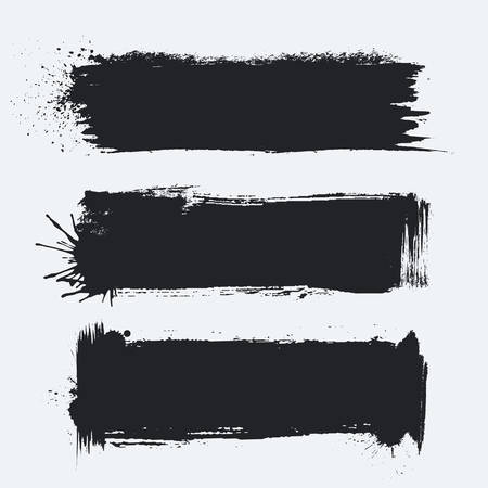 Detailed Grunge Banners Set. Ink Painted Brush Strokes Backgrounds Isolated on White. Vector Illustration.