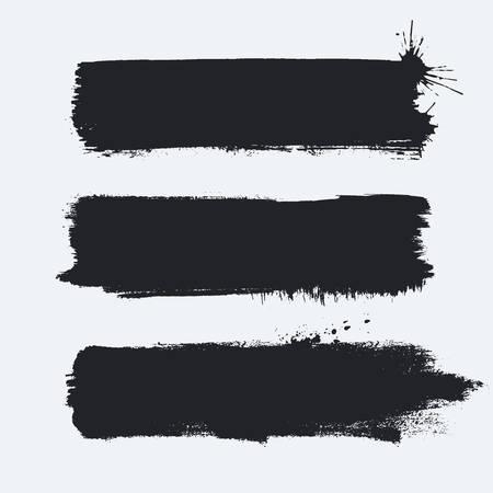 Ensemble De Bannières Grunge Détaillées. Fond de coups de pinceau peint à l'encre isolé sur blanc. Illustration vectorielle. Vecteurs