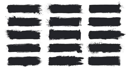 Detailed Grunge Banners Large Set. Ink Painted Brush Strokes Backgrounds Isolated on White. Vector Illustration Иллюстрация