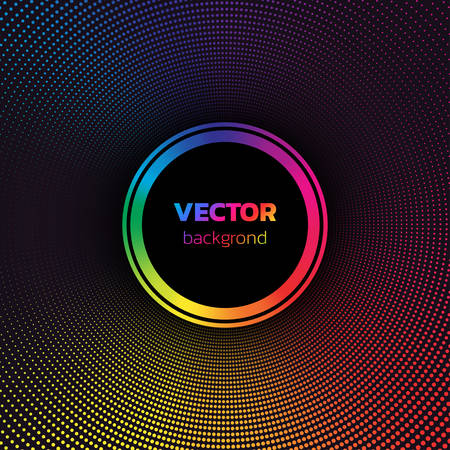 Rainbow colors Halftone dotted vortex circle background. Abstract colorful vector illustration Иллюстрация