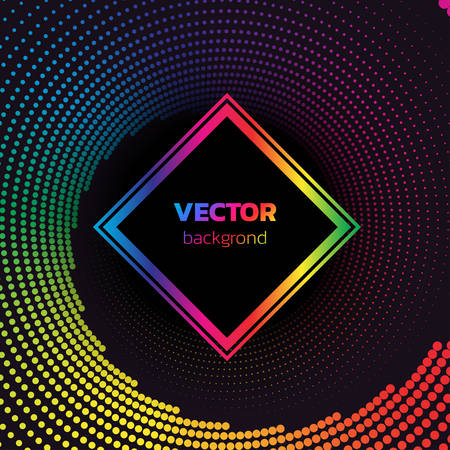 Rainbow Halftone dotted vortex square background. Abstract colorful vector illustration
