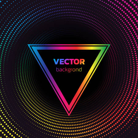 Rainbow Halftone dotted vortex triangle background. Abstract colorful vector illustration.