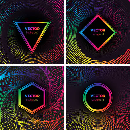 Halftone dotted backgrounds set. Rainbow Colors Circle, hexagon, suare and triangle shape over vortex. Abstract colorful vector illustration 向量圖像