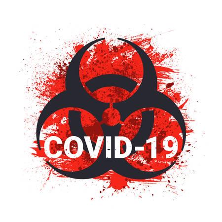 COVID-19 Biohazard Sign. 2019-nCoV Corona Virus Danger Background. Vector Illustration