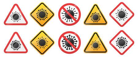 Set of Biological Virus Alert Signs. Coronavirus COVID-19 Warning Symbol Isolated on White Background. Vector Illustration