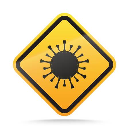 Coronavirus warning and attention Sign. COVID-19 epidemic and pandemic danger symbol. Vector illustration Иллюстрация