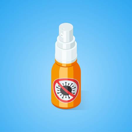 Ethyl Antibacterial and antiviral Spray For Hands. Isometric vector illustration Vettoriali