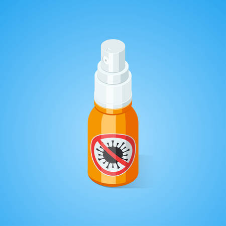 Ethyl Antibacterial and antiviral Spray For Hands. Isometric vector illustration