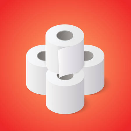 Stack of Toilet paper rolls on red background. Isometric vector illustration Иллюстрация