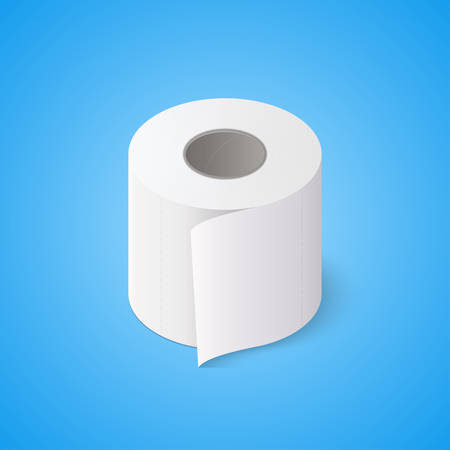 Toilet paper roll on blue background. Isometric vector illustration