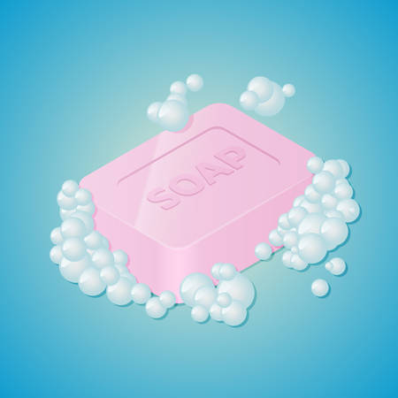 Soap Bar with Bubbles. Isometric vector illustration.