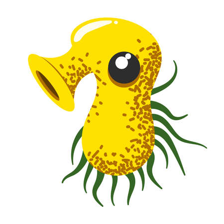 Funny and cute virus, bacteria, germ cartoon character. Microbe and pathogen microorganism isolated on white background.