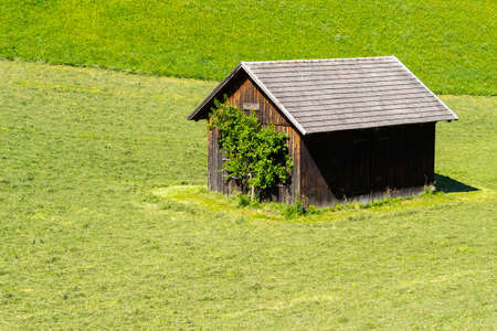 tyrolean: Wooden hut in a green hill South Tyrolean AlpsHorizontal.