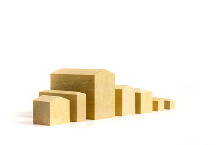 single family home: Miniature housesWooden blocks formed in the shape of house
