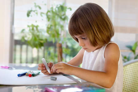 Elementary school pupil homeworking at desk - creativity  Stock Photo