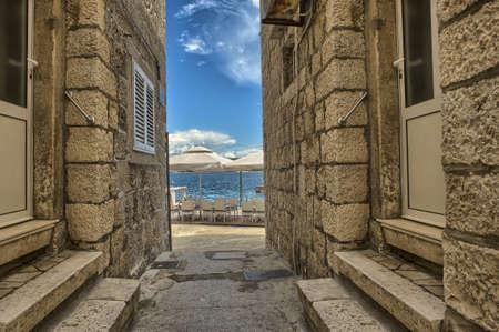 旧市街、コルチュラのコルチュラの通り 写真素材