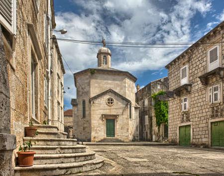 クロアチア南ダルマチアで旧市街コルチュラ島