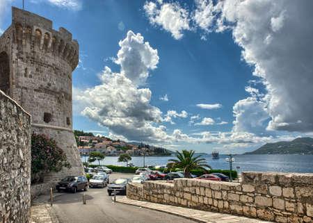 古い町でクロアチア - コルチュラ島港南ダルマチア