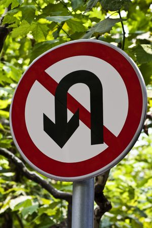 no u turn sign: No U-Turn sign with sycamore leaves