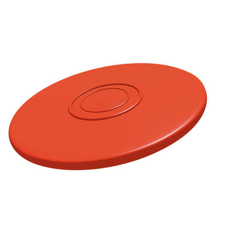 flying disc: Red flying disc  3D render   Stock Photo