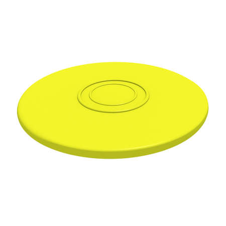 flying disc: Yellow flying disc  3D render   Stock Photo