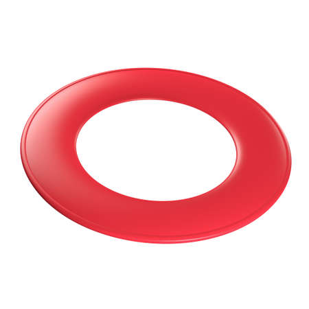 flying disc: Red flying disc - ring disc (3D render). Stock Photo