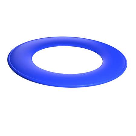 flying disc: Blue flying disc - ring disc  3D render