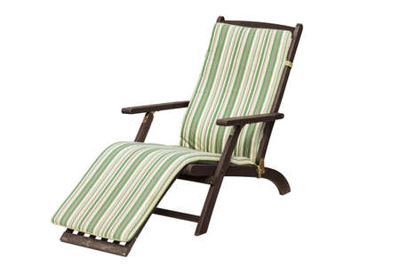 lounger: Wooden garden lounger. Stock Photo