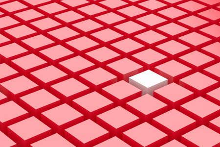amongst: One white box amongst a mass of red boxes