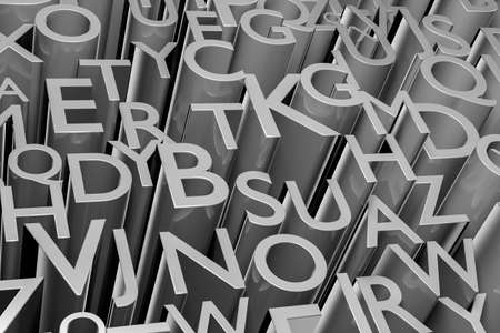 literate: Illustration of mass of letters - 3D render.