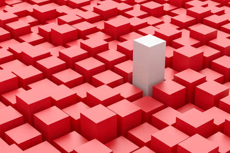 standing out: Tall white block amongst a mass of red  blocks - standing out from the crowd.
