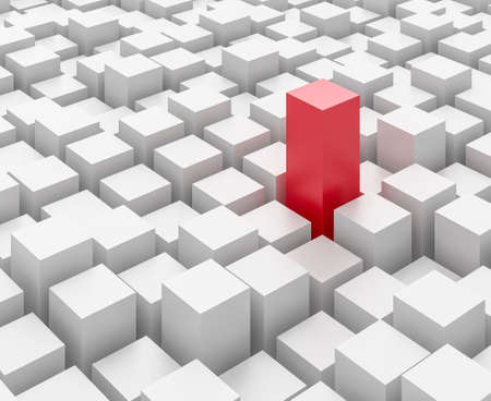 standing out: One tall red block amongst a mass of white blocks - standing out from the crowd.