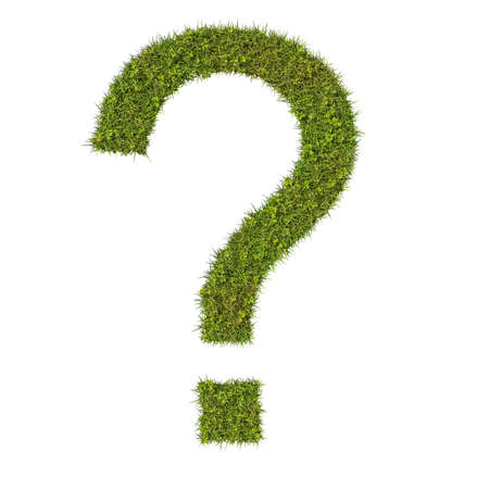 uncertain: Question mark made from grass.