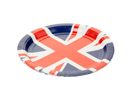 paper plates: Paper plates with Union jack theme.