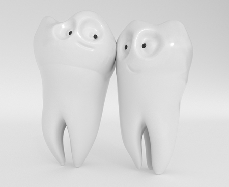 Tooth human cartoon. Dental concept. Two well-groomed teeth are in love with each other.. 3d rendering