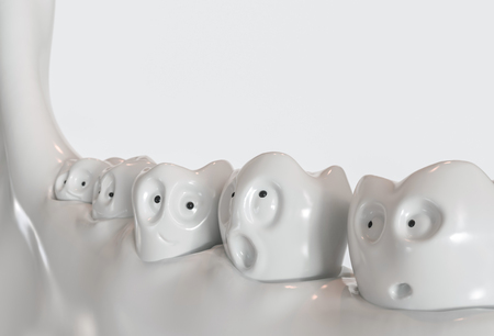 Tooth human cartoon. Teeth communicate with each other. 3d rendering