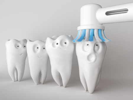 Tooth human cartoon. A tooth scares about cleaning.. 3d rendering