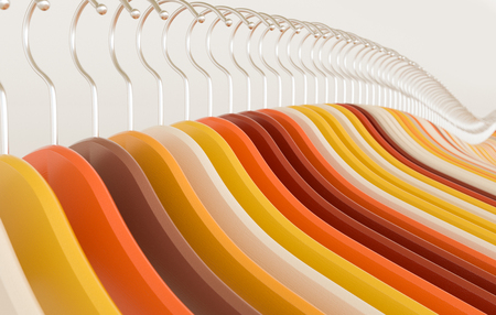Wooden hangers in fashion colors - 3D Rendering