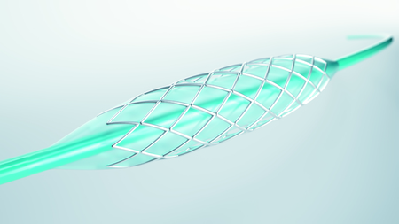 Vascular stent in close-up- 3D rendering