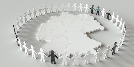 Verschiedene Nationalitäten rund um die Deutschlandkarte - 3D-Rendering