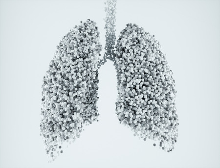Nanoparticles in the lungs on white background - 3D Rendering
