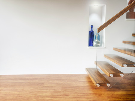Wooden staircase in empty apartment - 3D Rendering