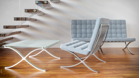 Seat group under wooden stairs - 3D Rendering