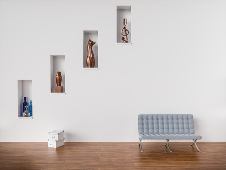 Sculptures in white wall with couch on wooden floor- 3D Rendering