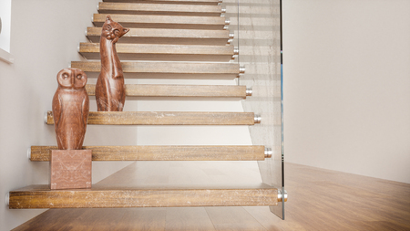 Wooden staircase with sculptures in empty apartment -- 3D Rendering