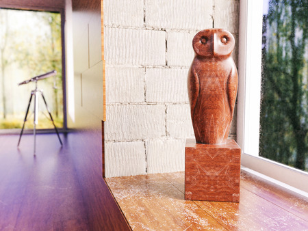 Wooden owl on the windowsill in apartment -- 3D Rendering