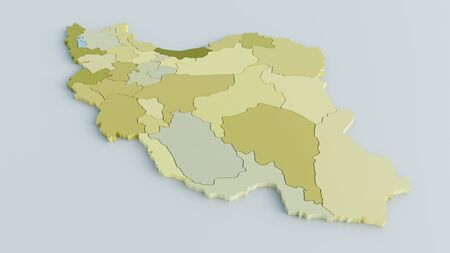 Map of Iran on grey background in greenish colors- 3D Rendering Archivio Fotografico - 139502348