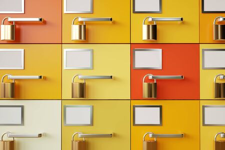 Padlocks on drawers. Data protection concept - 3D Rendering Archivio Fotografico - 139541999