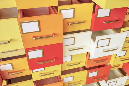 Data collection in colorful drawers -- 3D Rendering Archivio Fotografico - 139542000