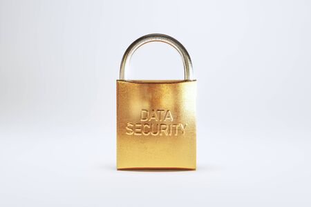 Padlock with data security engraving. Security concept - 3D Rendering Archivio Fotografico - 137696280